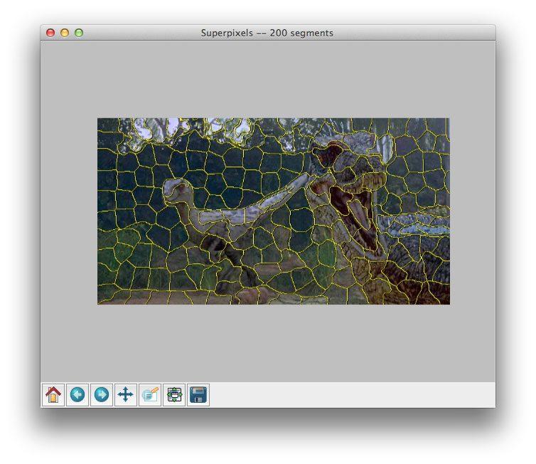 Applying SLIC superpixel segmentation to generate 200 superpixels using Python.