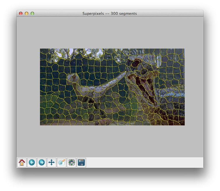 Applying SLIC superpixel segmentation to generate 300 superpixels using Python.
