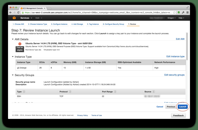 Launching your g2.2xlarge Amazon EC2 instance