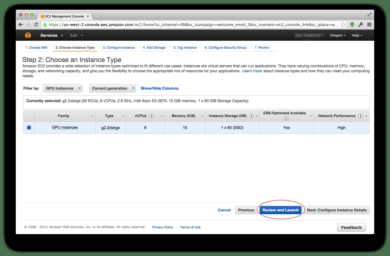 Selecting the g2.2xlarge Amazon EC2 instance