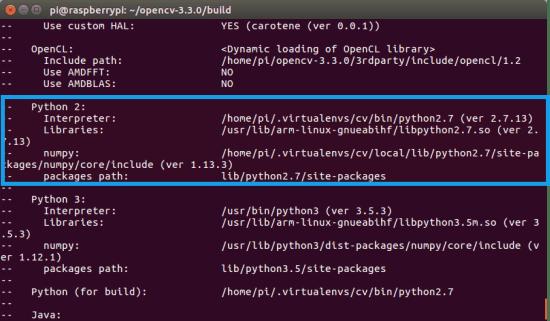 Open cV install on Raspberry pi